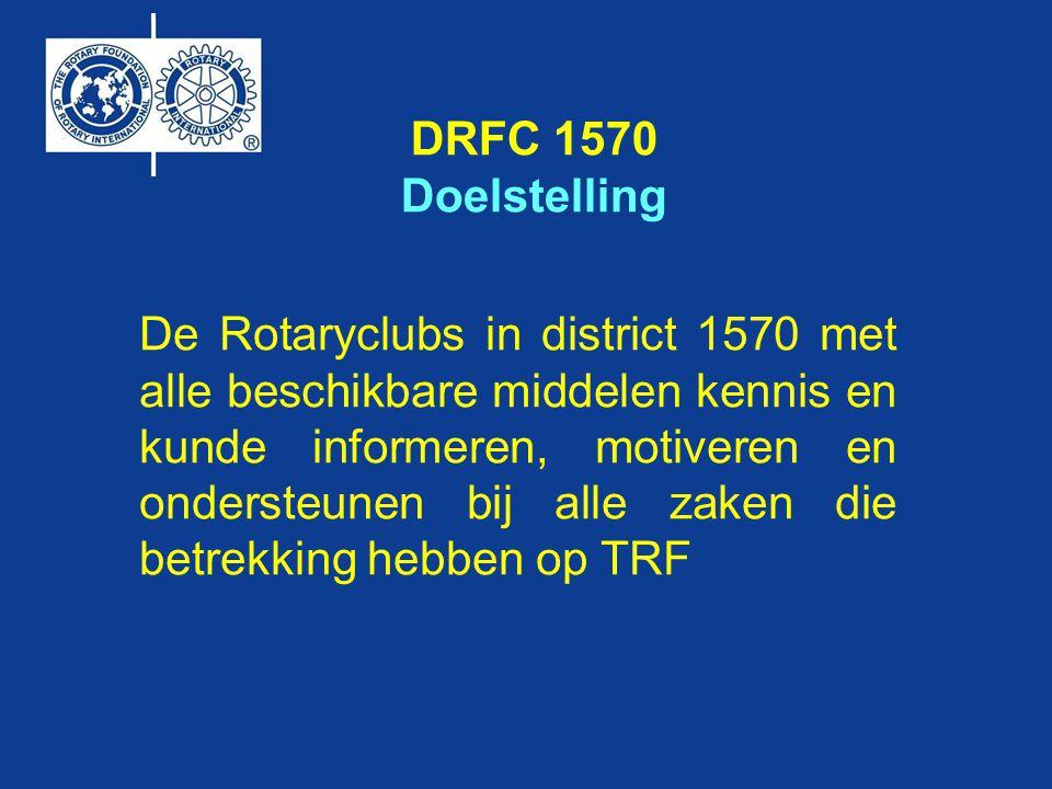 DRFC 1570 het streven Optimaal gebruik van de beschikbare TRF fondsen 50% van RC's in D1570 betrokken geweest of bezig met een of meerdere projecten met financiële steun van TRF.