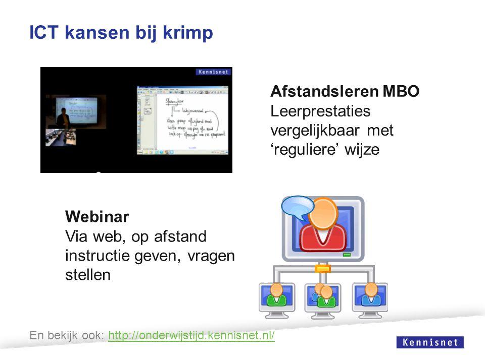 ICT kansen bij krimp Afstandsleren MBO Leerprestaties vergelijkbaar met 'reguliere' wijze Webinar Via web, op afstand instructie geven, vragen stellen