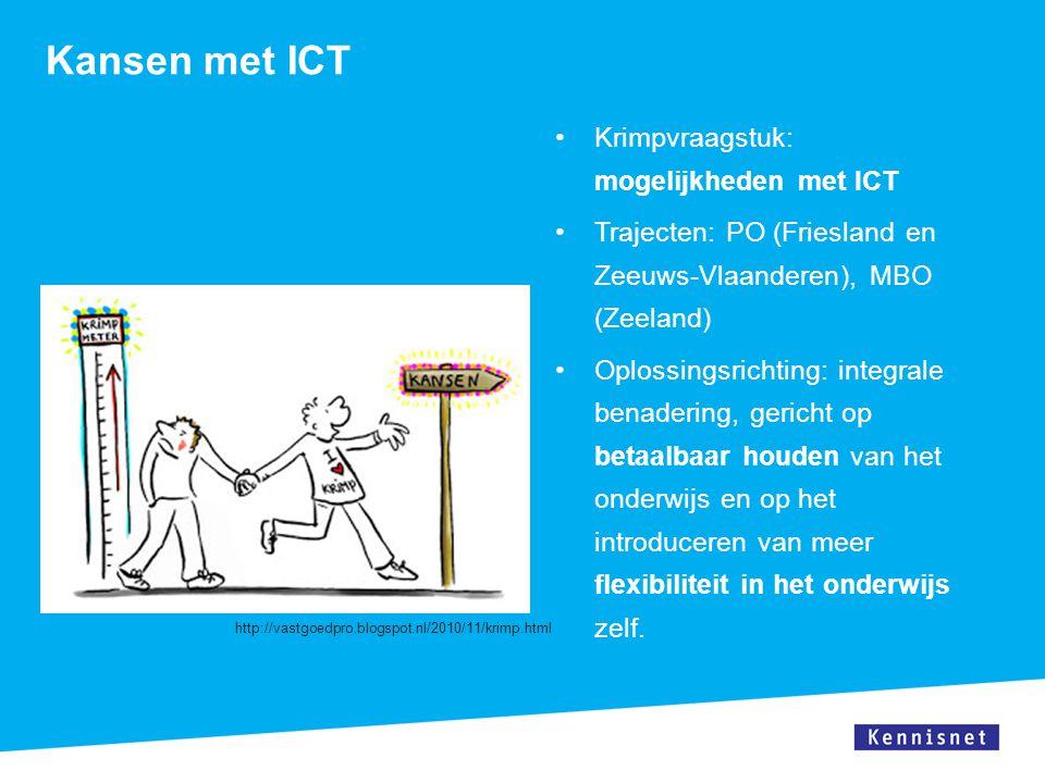 ICT kansen bij krimp Afstandsleren MBO Leerprestaties vergelijkbaar met 'reguliere' wijze Webinar Via web, op afstand instructie geven, vragen stellen En bekijk ook: http://onderwijstijd.kennisnet.nl/http://onderwijstijd.kennisnet.nl/