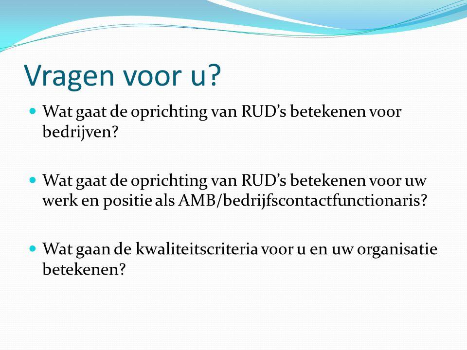 Vragen voor u? Wat gaat de oprichting van RUD's betekenen voor bedrijven? Wat gaat de oprichting van RUD's betekenen voor uw werk en positie als AMB/b