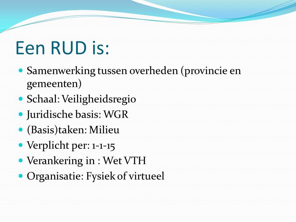 Een RUD is: Samenwerking tussen overheden (provincie en gemeenten) Schaal: Veiligheidsregio Juridische basis: WGR (Basis)taken: Milieu Verplicht per: