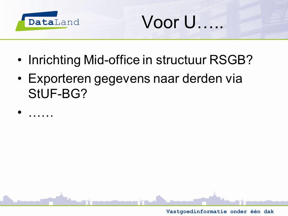 Voor U….. Inrichting Mid-office in structuur RSGB? Exporteren gegevens naar derden via StUF-BG? ……