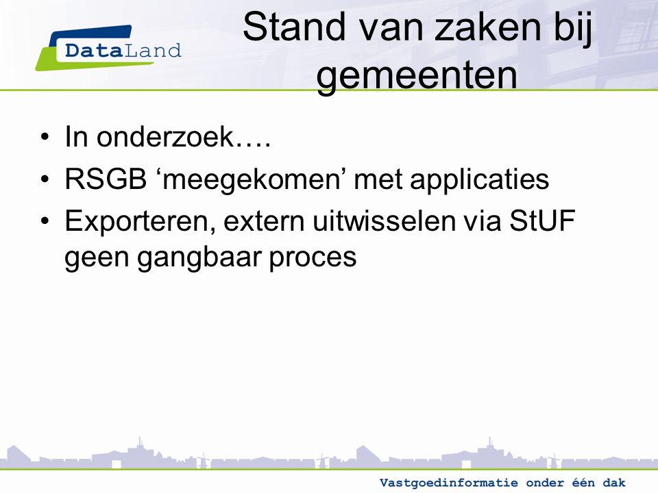 Stand van zaken bij gemeenten In onderzoek…. RSGB 'meegekomen' met applicaties Exporteren, extern uitwisselen via StUF geen gangbaar proces