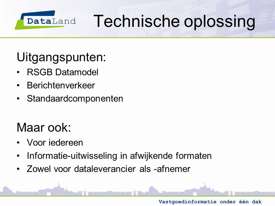 Technische oplossing Uitgangspunten: RSGB Datamodel Berichtenverkeer Standaardcomponenten Maar ook: Voor iedereen Informatie-uitwisseling in afwijkend