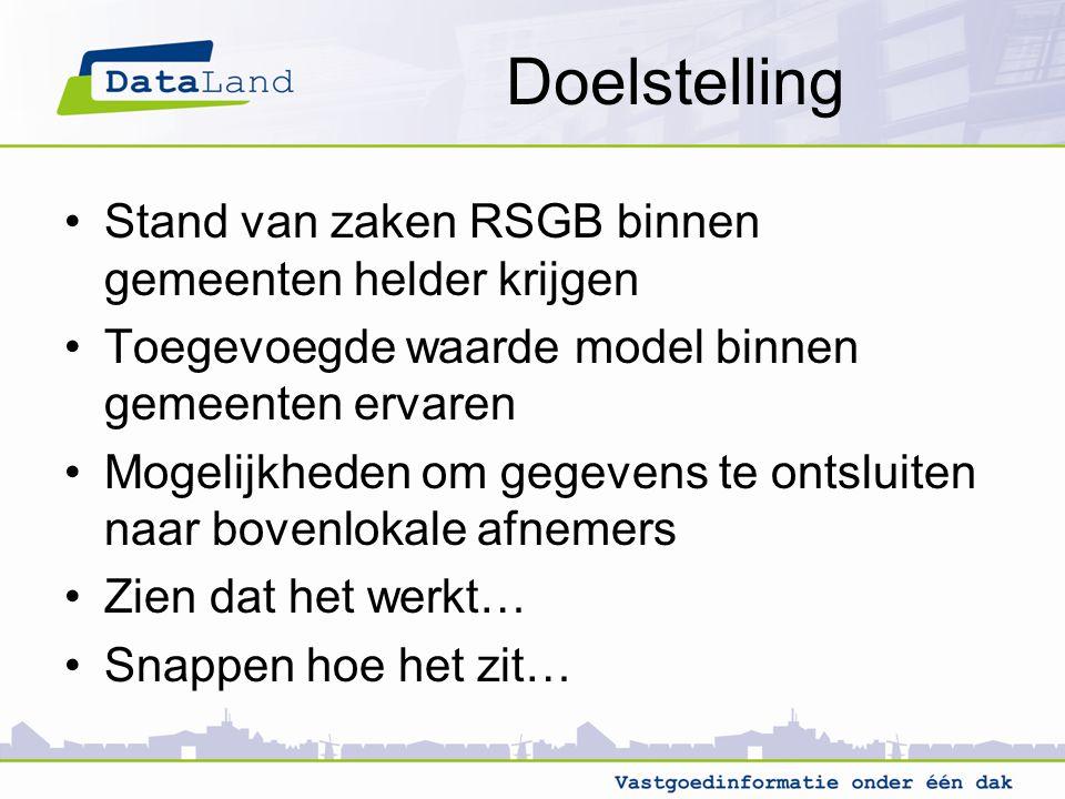 Doelstelling Stand van zaken RSGB binnen gemeenten helder krijgen Toegevoegde waarde model binnen gemeenten ervaren Mogelijkheden om gegevens te ontsl