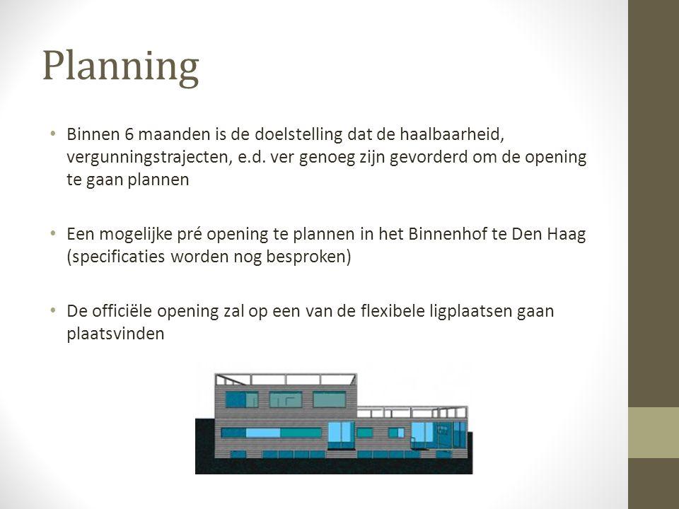 Planning Binnen 6 maanden is de doelstelling dat de haalbaarheid, vergunningstrajecten, e.d.
