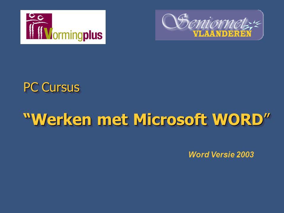 "PC Cursus ""Werken met Microsoft WORD"" Word Versie 2003"