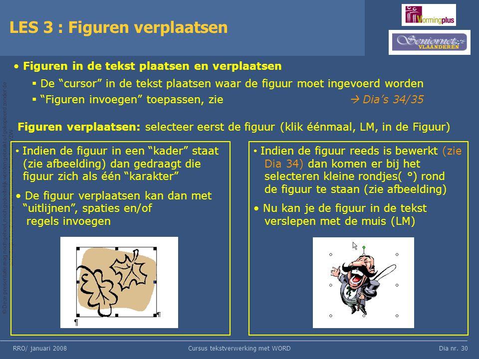 Dia nr. 30 © Deze presentatie mag noch geheel, noch gedeeltelijk worden gebruikt of gekopieerd zonder de schriftelijke toestemming van Seniornet Vlaan