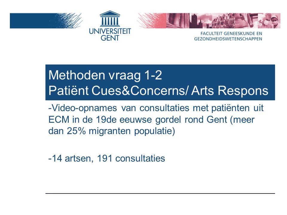 Methoden vraag 1-2 Patiënt Cues&Concerns/ Arts Respons -Video-opnames van consultaties met patiënten uit ECM in de 19de eeuwse gordel rond Gent (meer dan 25% migranten populatie) -14 artsen, 191 consultaties