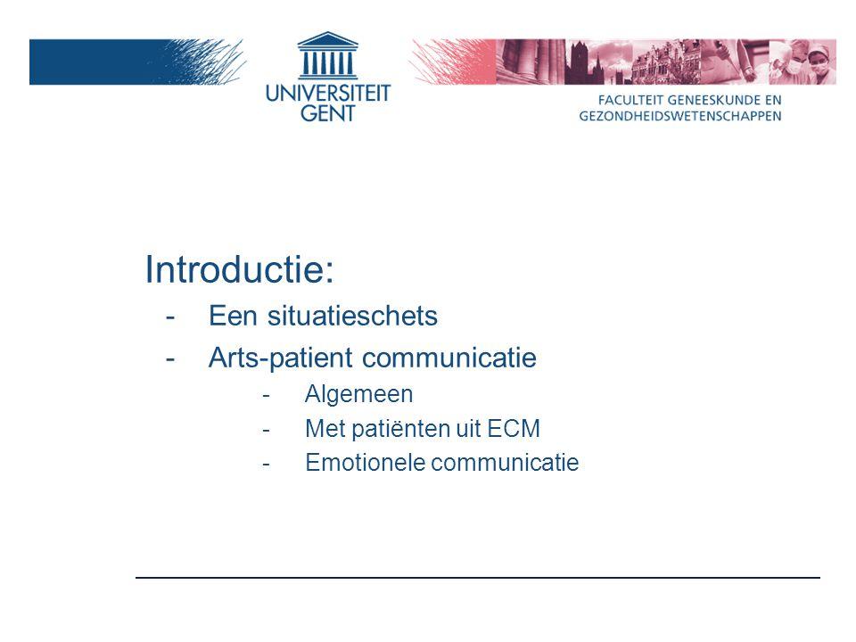Factoren die de communicatie tussen arts en patiënt uit ECM beïnvloeden Context Arts Patiënt Taalbeheersing Culturele ideeën, waarden, verwachtingen Opleiding Taalbeheersing Attitudes Percepties Competenties Ervaring in werken met ECM Praktijkorganisatie Tijd Beschikbaarheid van tolkendiensten