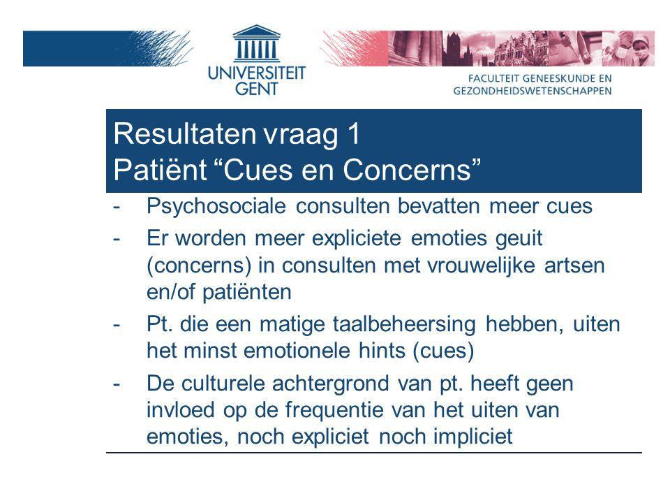 -Psychosociale consulten bevatten meer cues -Er worden meer expliciete emoties geuit (concerns) in consulten met vrouwelijke artsen en/of patiënten -Pt.