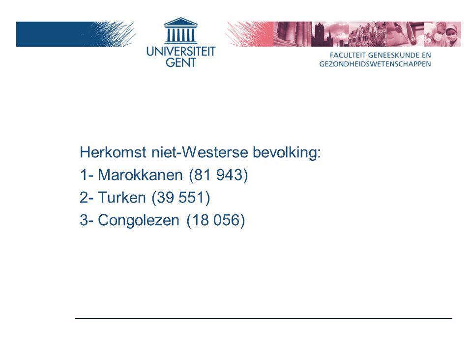 Herkomst niet-Westerse bevolking: 1- Marokkanen (81 943) 2- Turken (39 551) 3- Congolezen (18 056)