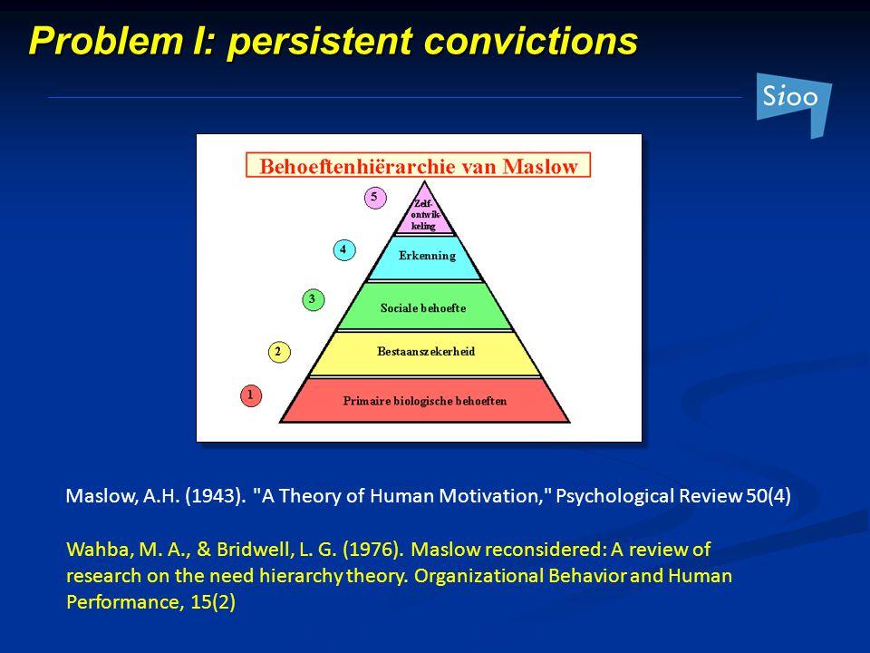 Problem I: persistent convictions Maslow, A.H. (1943).