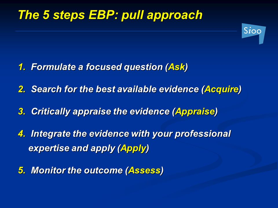 The 5 steps EBP: pull approach 1.Formulate a focused question (Ask) 2.