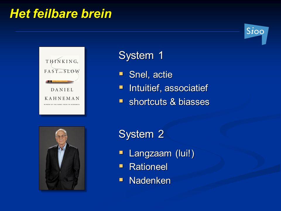 Het feilbare brein System 1  Snel, actie  Intuitief, associatief  shortcuts & biasses System 2  Langzaam (lui!)  Rationeel  Nadenken