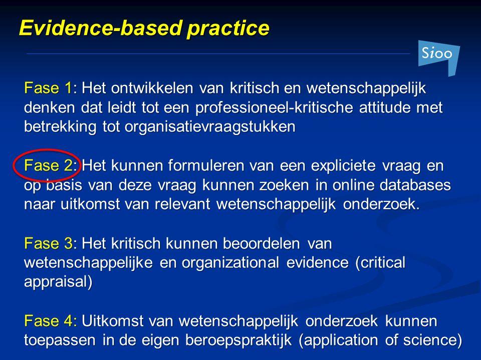 Fase 1: Het ontwikkelen van kritisch en wetenschappelijk denken dat leidt tot een professioneel-kritische attitude met betrekking tot organisatievraag