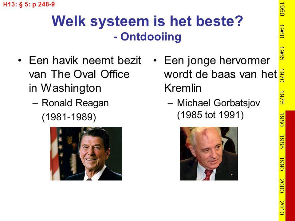 Welk systeem is het beste? - Ontdooiing Een havik neemt bezit van The Oval Office in Washington –Ronald Reagan (1981-1989) Een jonge hervormer wordt d