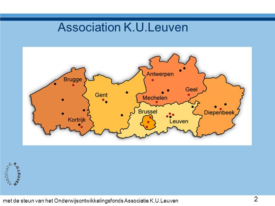 met de steun van het Onderwijsontwikkelingsfonds Associatie K.U.Leuven 23 Collaboration at several levels -Institution – central & departments or faculties -Student unians – central & decentral -Cities and the regio