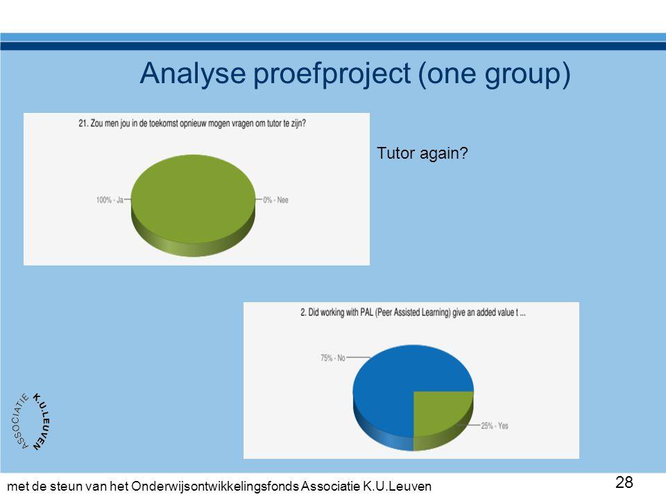 met de steun van het Onderwijsontwikkelingsfonds Associatie K.U.Leuven 28 Analyse proefproject (one group) Tutor again