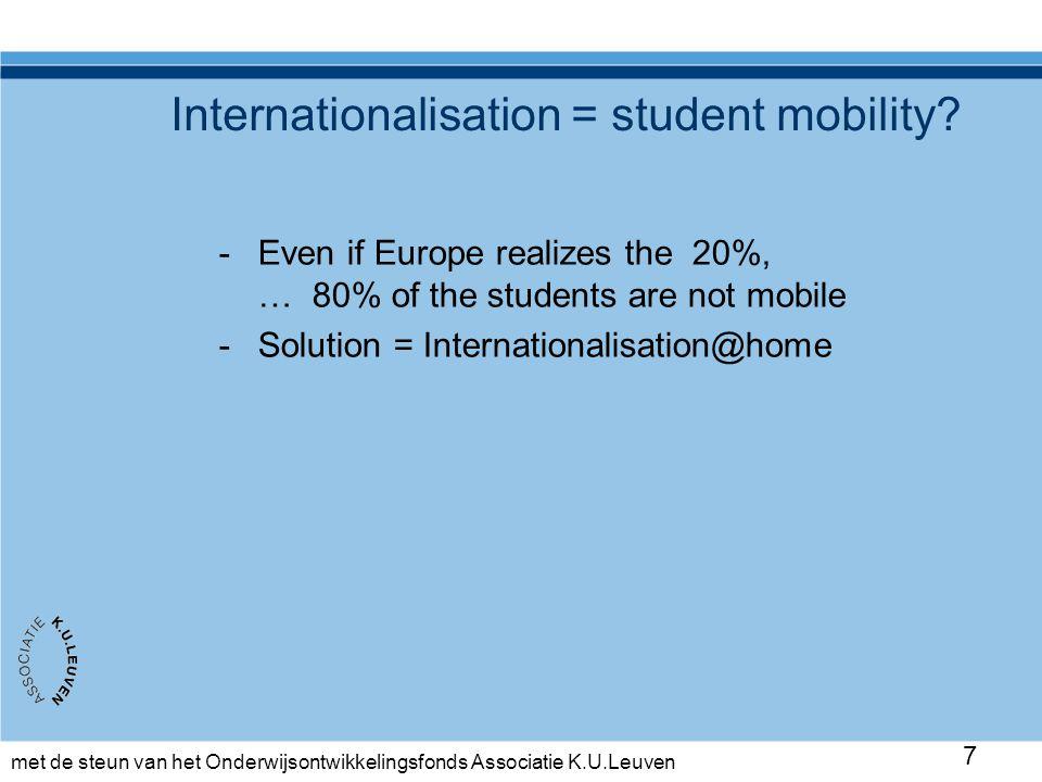 met de steun van het Onderwijsontwikkelingsfonds Associatie K.U.Leuven 38 Pilot: return moment usefully (Ja=yes, Nee = no) Smaller institution University