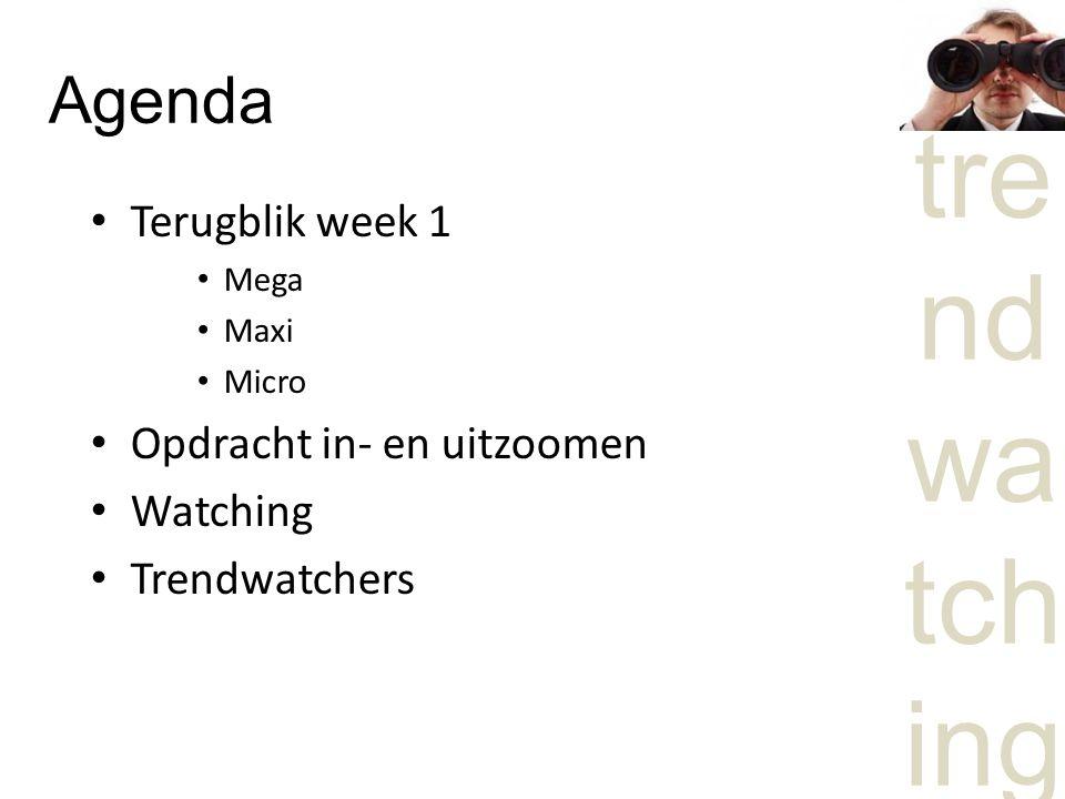 tre nd wa tch ing Agenda Terugblik week 1 Mega Maxi Micro Opdracht in- en uitzoomen Watching Trendwatchers