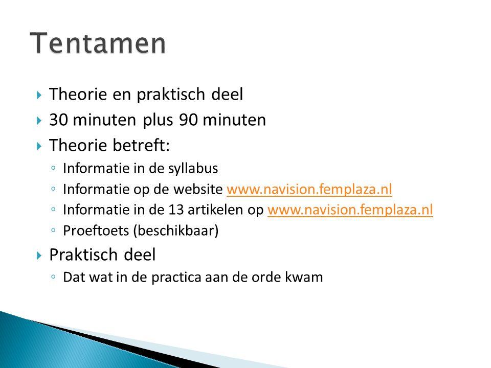  Theorie en praktisch deel  30 minuten plus 90 minuten  Theorie betreft: ◦ Informatie in de syllabus ◦ Informatie op de website www.navision.fempla