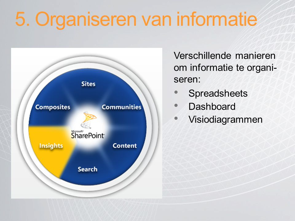 5. Organiseren van informatie Verschillende manieren om informatie te organi- seren: Spreadsheets Dashboard Visiodiagrammen