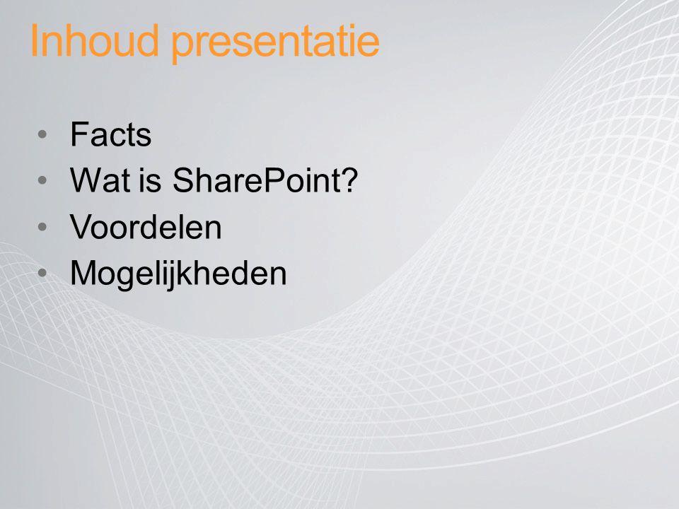 Inhoud presentatie Facts Wat is SharePoint? Voordelen Mogelijkheden
