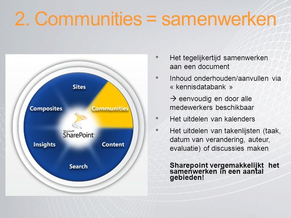 2. Communities = samenwerken Het tegelijkertijd samenwerken aan een document Inhoud onderhouden/aanvullen via « kennisdatabank »  eenvoudig en door a