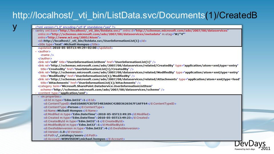 http://localhost/_vti_bin/ListData.svc/Documents(1)/CreatedB y