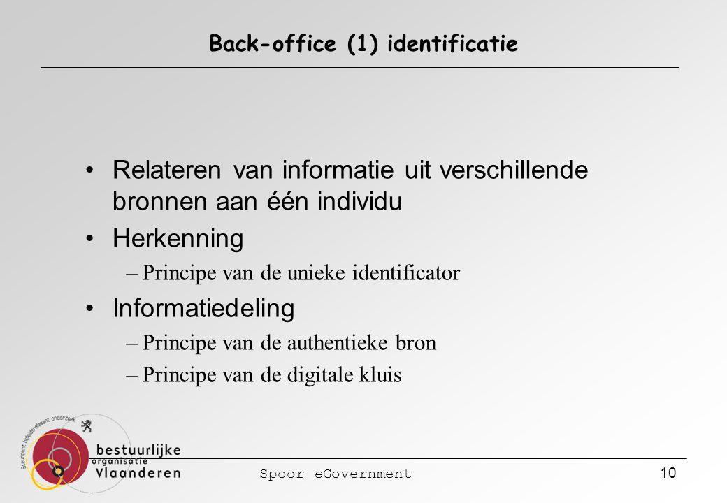 Spoor eGovernment 10 Back-office (1) identificatie Relateren van informatie uit verschillende bronnen aan één individu Herkenning –Principe van de unieke identificator Informatiedeling –Principe van de authentieke bron –Principe van de digitale kluis
