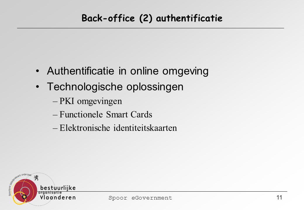 Spoor eGovernment 11 Back-office (2) authentificatie Authentificatie in online omgeving Technologische oplossingen –PKI omgevingen –Functionele Smart Cards –Elektronische identiteitskaarten