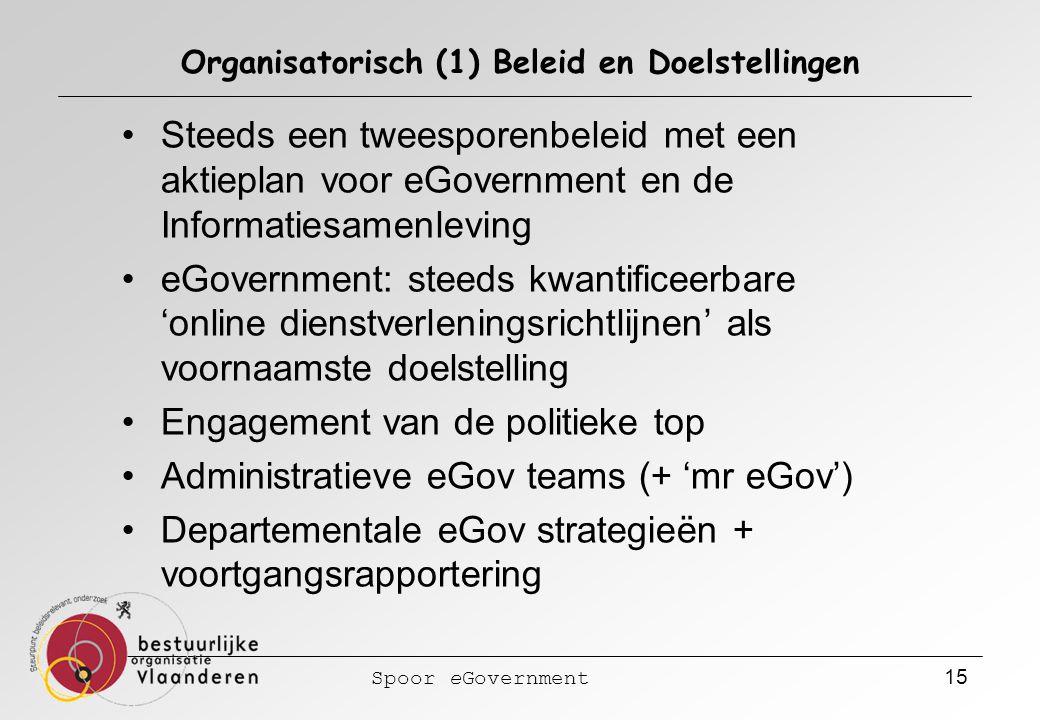 Spoor eGovernment 15 Organisatorisch (1) Beleid en Doelstellingen Steeds een tweesporenbeleid met een aktieplan voor eGovernment en de Informatiesamenleving eGovernment: steeds kwantificeerbare 'online dienstverleningsrichtlijnen' als voornaamste doelstelling Engagement van de politieke top Administratieve eGov teams (+ 'mr eGov') Departementale eGov strategieën + voortgangsrapportering