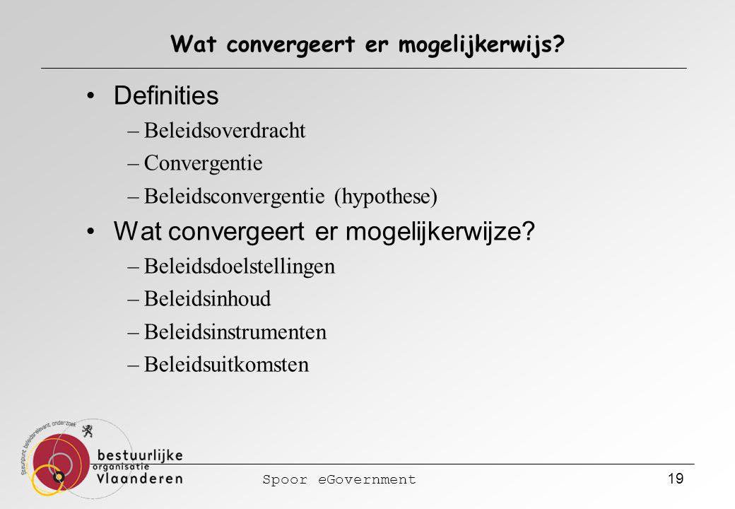 Spoor eGovernment 19 Wat convergeert er mogelijkerwijs? Definities –Beleidsoverdracht –Convergentie –Beleidsconvergentie (hypothese) Wat convergeert e