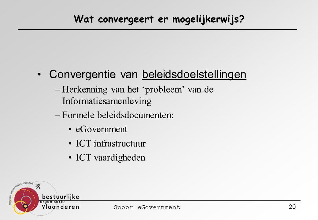 Spoor eGovernment 20 Wat convergeert er mogelijkerwijs? Convergentie van beleidsdoelstellingen –Herkenning van het 'probleem' van de Informatiesamenle