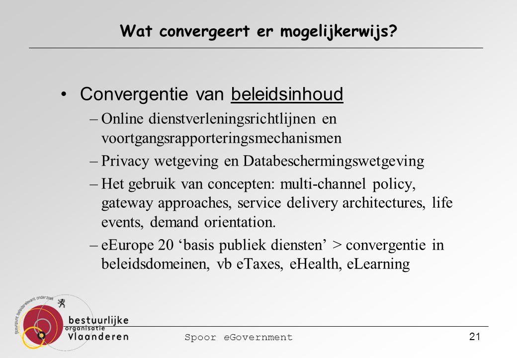 Spoor eGovernment 21 Wat convergeert er mogelijkerwijs? Convergentie van beleidsinhoud –Online dienstverleningsrichtlijnen en voortgangsrapporteringsm
