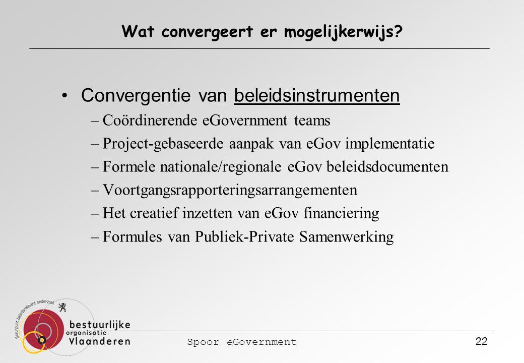 Spoor eGovernment 22 Wat convergeert er mogelijkerwijs? Convergentie van beleidsinstrumenten –Coördinerende eGovernment teams –Project-gebaseerde aanp