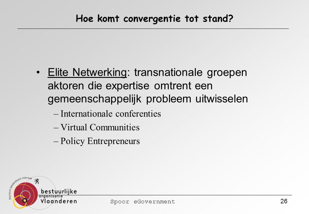 Spoor eGovernment 26 Hoe komt convergentie tot stand? Elite Netwerking: transnationale groepen aktoren die expertise omtrent een gemeenschappelijk pro