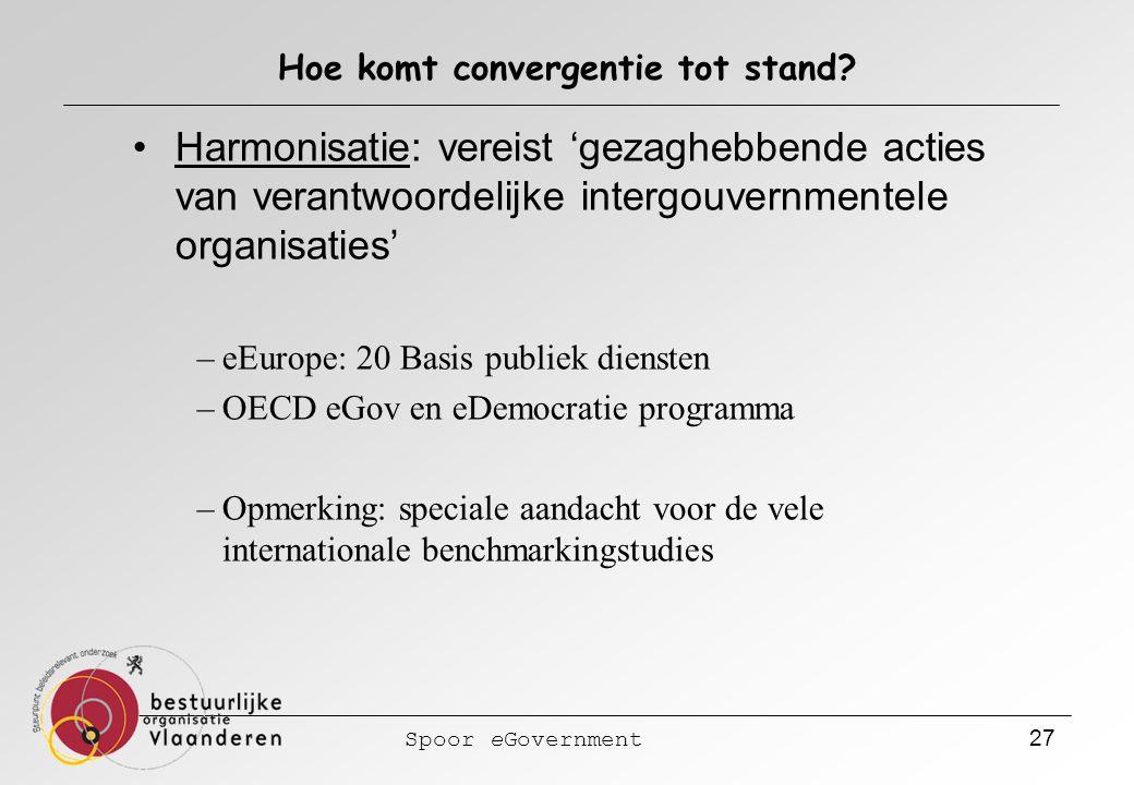 Spoor eGovernment 27 Hoe komt convergentie tot stand? Harmonisatie: vereist 'gezaghebbende acties van verantwoordelijke intergouvernmentele organisati