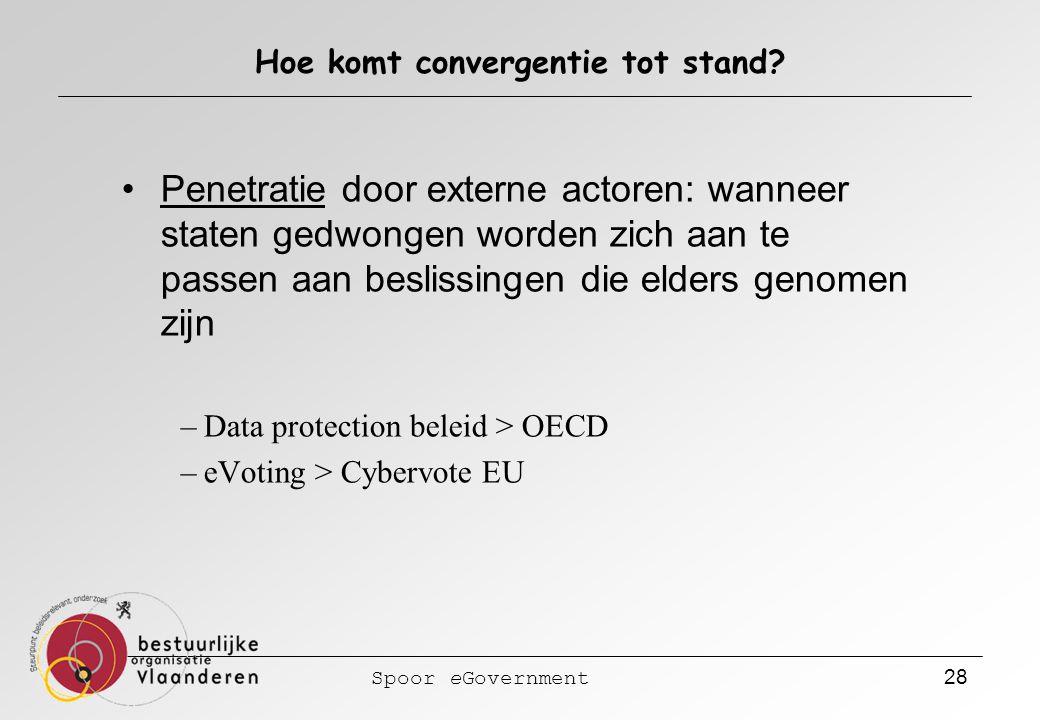 Spoor eGovernment 28 Hoe komt convergentie tot stand? Penetratie door externe actoren: wanneer staten gedwongen worden zich aan te passen aan beslissi