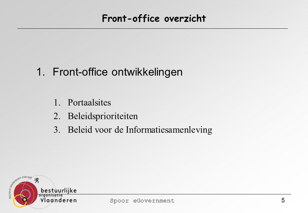 Spoor eGovernment 5 Front-office overzicht 1.Front-office ontwikkelingen 1.Portaalsites 2.Beleidsprioriteiten 3.Beleid voor de Informatiesamenleving