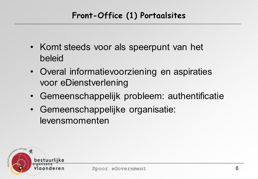 Spoor eGovernment 6 Front-Office (1) Portaalsites Komt steeds voor als speerpunt van het beleid Overal informatievoorziening en aspiraties voor eDienstverlening Gemeenschappelijk probleem: authentificatie Gemeenschappelijke organisatie: levensmomenten