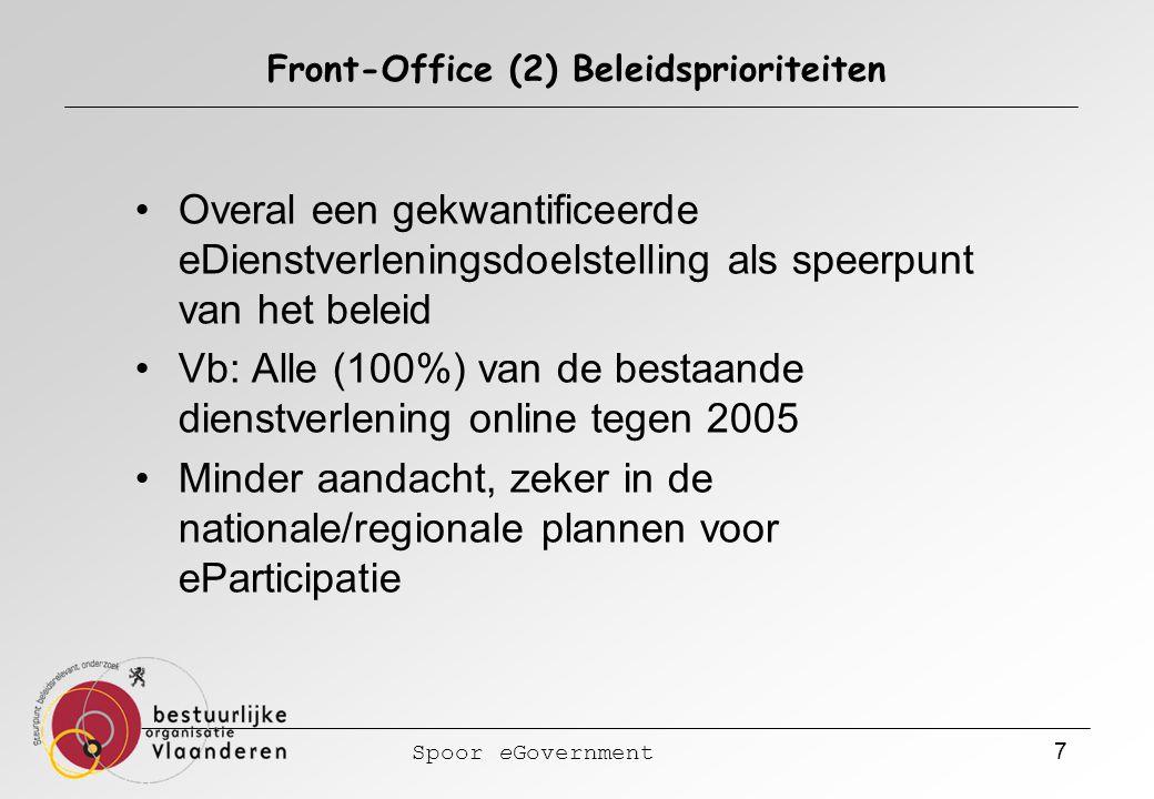 Spoor eGovernment 7 Front-Office (2) Beleidsprioriteiten Overal een gekwantificeerde eDienstverleningsdoelstelling als speerpunt van het beleid Vb: Alle (100%) van de bestaande dienstverlening online tegen 2005 Minder aandacht, zeker in de nationale/regionale plannen voor eParticipatie