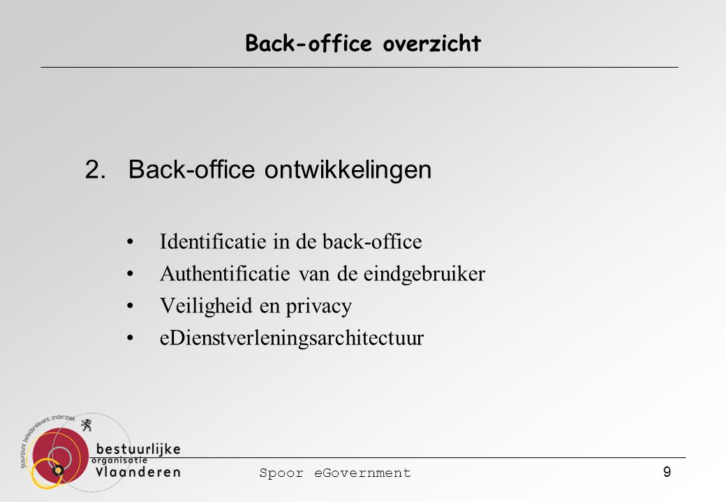 Spoor eGovernment 9 Back-office overzicht 2.
