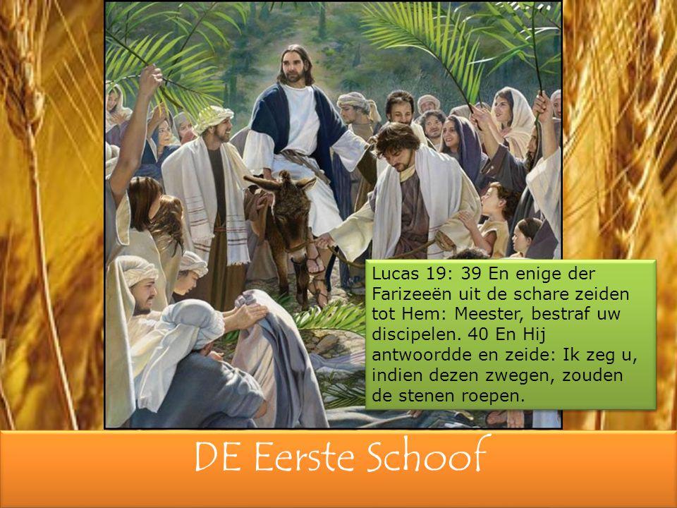 DE Eerste Schoof Lucas 19: 39 En enige der Farizeeën uit de schare zeiden tot Hem: Meester, bestraf uw discipelen.
