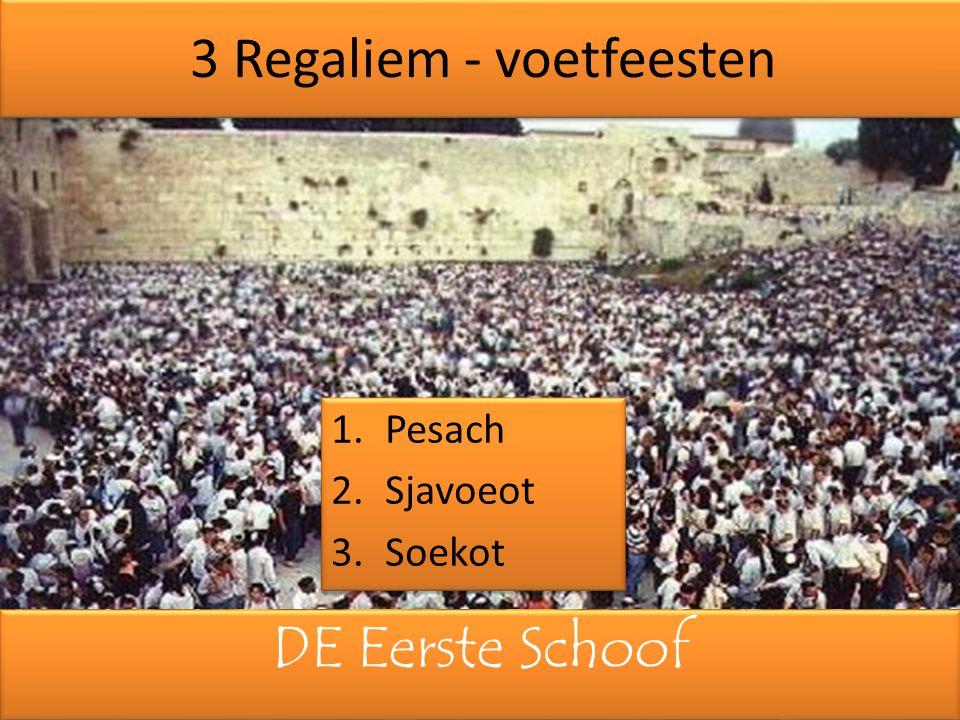 DE Eerste Schoof 3 Regaliem - voetfeesten 1.Pesach 2.Sjavoeot 3.Soekot 1.Pesach 2.Sjavoeot 3.Soekot