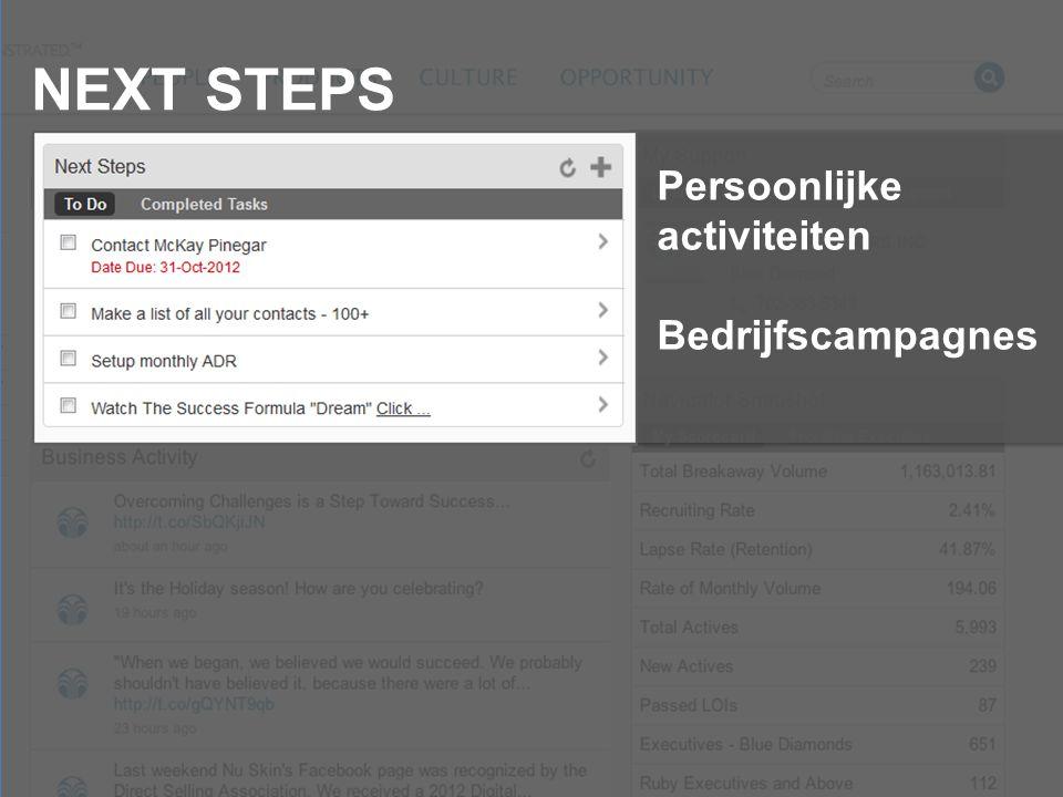 NEXT STEPS Persoonlijke activiteiten Bedrijfscampagnes