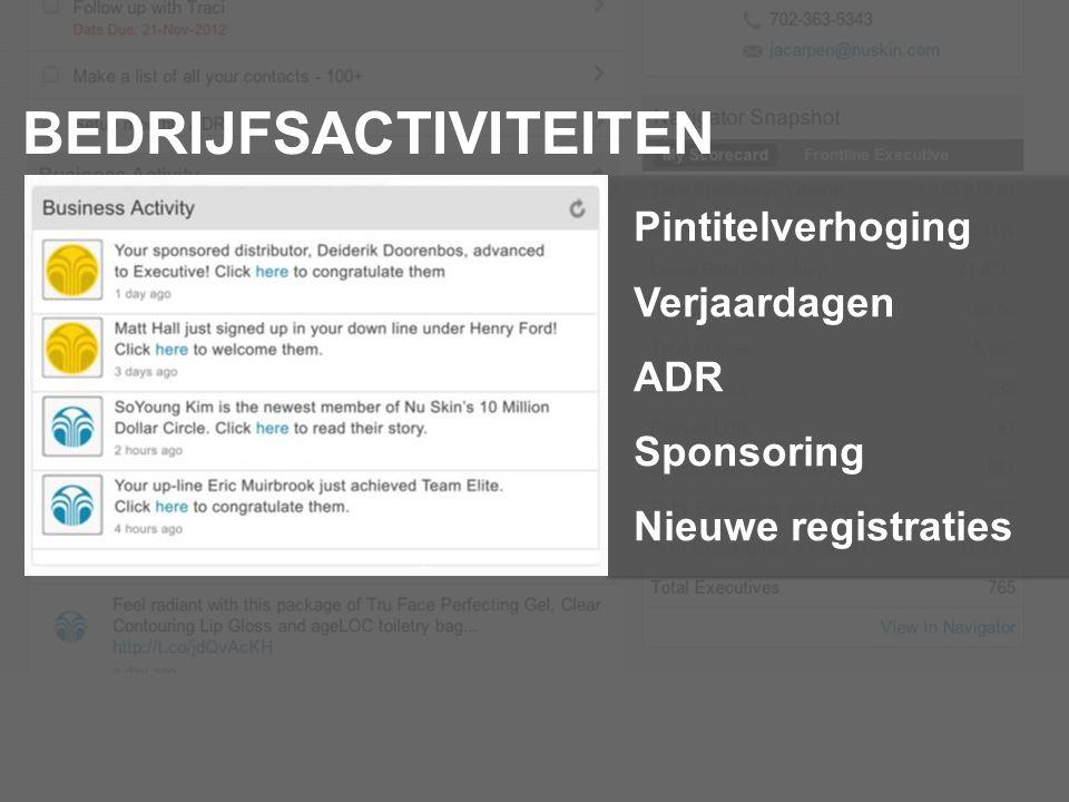 BEDRIJFSACTIVITEITEN Pintitelverhoging Verjaardagen ADR Sponsoring Nieuwe registraties