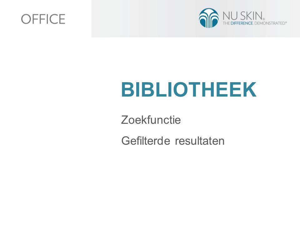 BIBLIOTHEEK Zoekfunctie Gefilterde resultaten