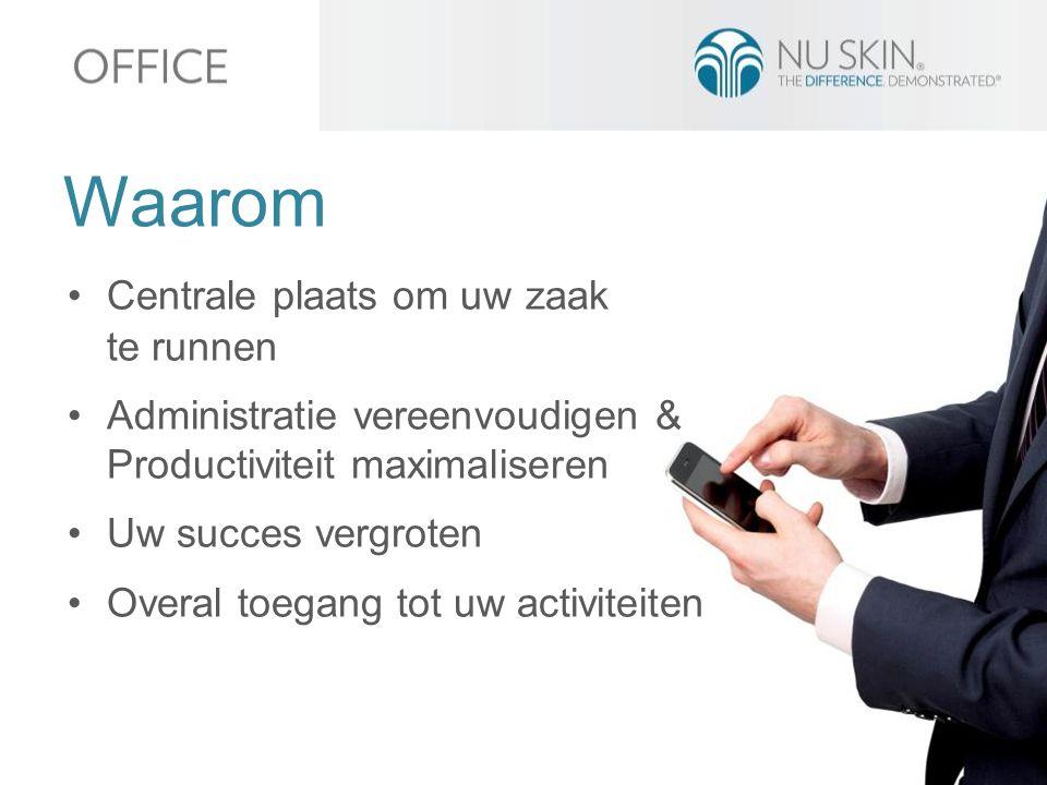 Waarom Centrale plaats om uw zaak te runnen Administratie vereenvoudigen & Productiviteit maximaliseren Uw succes vergroten Overal toegang tot uw activiteiten